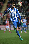 Brighton & Hove Albion midfielder Jiri Skalak (8) heads the ball during the EFL Sky Bet Championship match between Rotherham United and Brighton and Hove Albion at the AESSEAL New York Stadium, Rotherham, England on 7 March 2017. Photo by Mark P Doherty.
