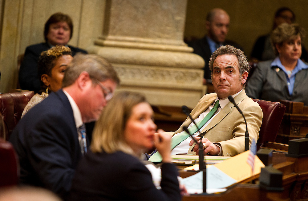 MADISON, WI — FEBRUARY 25: State Senator Jon Erpenbach, right, looks on as a fellow Senator discusses controversial right-to-work legislation in Senate Bill 44.