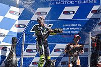 Podium and champagne for ROSSI Valentino of Italy and Yamaha Factory Racing, winner, LORENZO Jorge of Spain and Movistar Yamaha and PEDROSA Dani of Spain and Repsol Honda Team of the Moto GP San Marino Grand Prix at Mizano on september 14, 2014 - Photo Milagro / DPPI