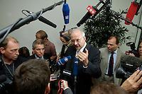 """17 AUG 2005, BERLIN/GERMANY:<br /> Prof. Paul Kirchhof (M), parteilos, Steuerrechtler, nach der Pressekonfernz zur Vorstellung des CDU/CSU Kompetenzteams zur Bundestagswahl 2005, Konrad-Adenauer-Haus<br /> Prof. Paul Kirchhof (M), tax law expert and Member of the team, press conference for the presentation of the """"Competence Team"""" of the Union Partys CDU and CSU für the general Elections 2005, Konrad-Adenauer-House<br /> IMAGE: 20050817-02-060<br /> KEYWORDS: Wahlkampf, Schattenkabinett, Mikrofon, microphone, Journalist, Journalisten"""