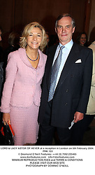 LORD & LADY ASTOR OF HEVER at a reception in London on 5th February 2004.<br /> PRK 103