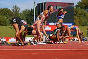 Katarina Johnson-Thompson prepares for heat 2 of the Women's 100m Hurdles during the Muller British Athletics Championships at Alexander Stadium, Birmingham, United Kingdom on 24 August 2019.