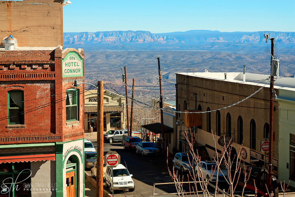 Distant view of Sedona through the buildings of Jerome, AZ