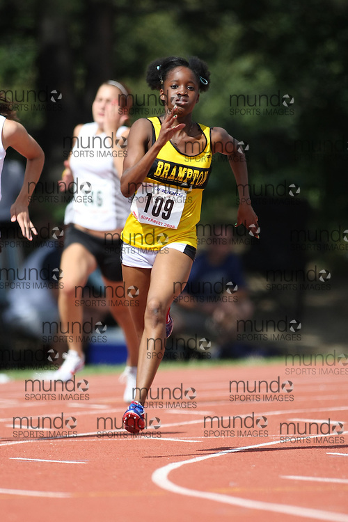 (Toronto, Ontario---3 August 2008)  Chrisena Whyte competing in the 200m at the 2008 OTFA Supermeet II, the Bantam, Midget, Youth Track and Field Championships. This image is copyright Sean W. Burges, and the photographer can be contacted at www.msievents.com.