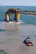 "Offshore oil rig ""Stampede"" being towed out by Crowley and Signet Maritime Tug boats from Kiewit Offshore Services in Ingleside, TX on Friday and Saturday May 5th and 6th to the Gulf of Mexico. (Photo by Tim Burdick)"