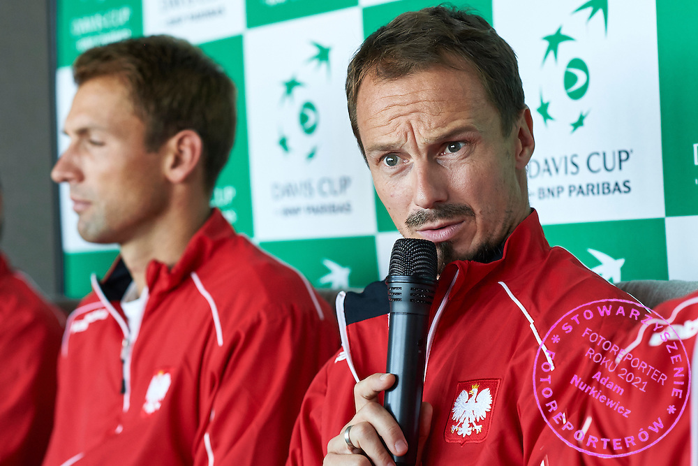 (R) Radoslaw Szymanik - captain national team of Poland speaks during official draw one day before Davis Cup Tie World Group Play-off Poland v Slovakia at Mondo di Vinegre Restaurant in Gdynia, Poland.<br /> <br /> Poland, Gdynia, September 17, 2015<br /> <br /> Picture also available in RAW (NEF) or TIFF format on special request.<br /> <br /> For editorial use only. Any commercial or promotional use requires permission.<br /> <br /> Adam Nurkiewicz declares that he has no rights to the image of people at the photographs of his authorship.<br /> <br /> Mandatory credit:<br /> Photo by &copy; Adam Nurkiewicz / Mediasport