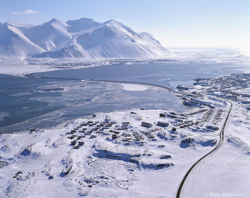 Borgarnes, mount Hafnarfjall in background. Aerial. Borgarbyggð áður Borgarhreppur / Borgarbyggd former Borgarhreppur.