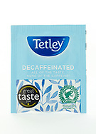 London, England - March 07, 2017: Tetley Decaffeinated Tea, Tetley was founded by Joseph and Edward Tetley around 1837 in Yorkshire, England.
