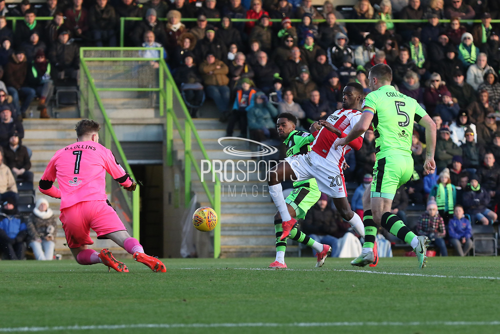 Mohamed Eisa takes a shot during the EFL Sky Bet League 2 match between Forest Green Rovers and Cheltenham Town at the New Lawn, Forest Green, United Kingdom on 25 November 2017. Photo by Antony Thompson.