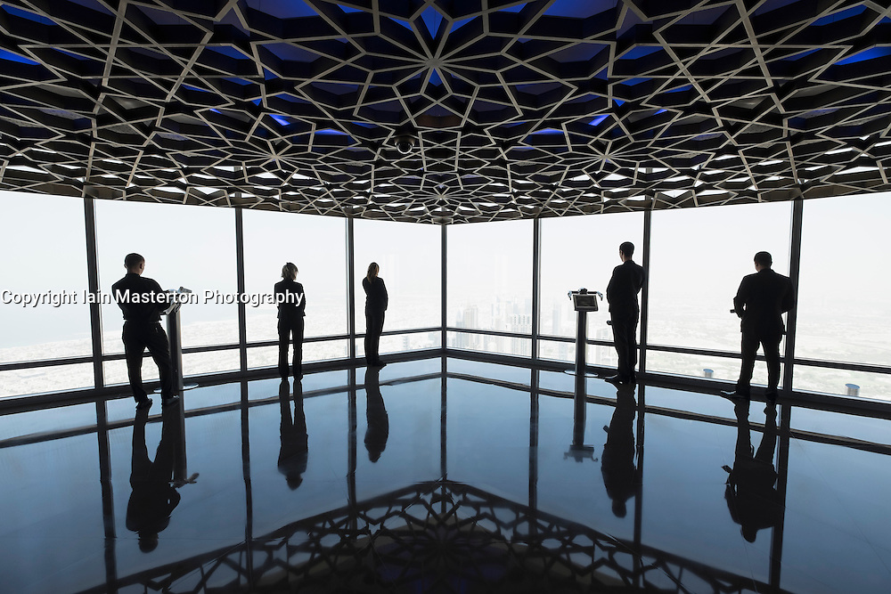 "world's highest observation deck ""At the Top Sky"" in Burj Khalifa tower in Dubai United Arab Emirates"