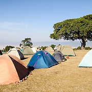 Tents at the Simba Campsite on the rim of the Ngorongoro Crater in the Ngorongoro Conservation Area, part of Tanzania's northern circuit of national parks and nature preserves.