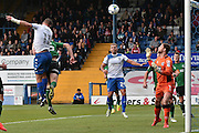 Bury Forward, Tom Pope (11) shoots during the EFL Sky Bet League 1 match between Bury and Scunthorpe United at the JD Stadium, Bury, England on 1 October 2016. Photo by Mark Pollitt.