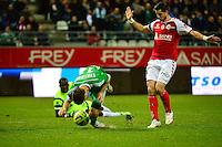 Faute sur Ricky VAN WOLFSWINKEL / Johny PLACIDE - 10.01.2015 - Reims / Saint Etienne - 20eme journee de Ligue 1<br />Photo : Dave Winter / Icon Sport