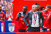 Lee Bowyer of Charlton Athletic (Manager) and the play off trophy during the EFL Sky Bet League 1 play off final match between Charlton Athletic and Sunderland at Wembley Stadium, London, England on 26 May 2019.