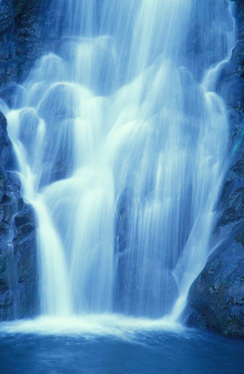Waterfall in Waimea Valley, north shore Oahu, Hawaii.