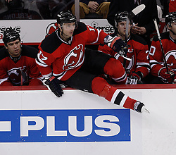 Feb 5, 2010; Newark, NJ, USA; New Jersey Devils left wing Ilya Kovalchuk (17) takes the ice during the third period at the Prudential Center. The Devils rallied with three goals in the period to win 4-3.