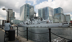 © Licensed to London News Pictures. 07/08/2014. An Italian naval guided missile destroyer has arrived in London. The Luigi Durand De La Penne is being used as a training ship by the Italian Navy and arrived at West India Docks, Canary Wharf, this morning. The Durand de la Penne class destroyer is 147 metres long and will be open to the public from Friday (8th Aug 14) to Monday (11th Aug 2014) . Credit : Rob Powell/LNP