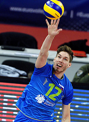 Jan Klobucar #12 during volleyball match between National teams of Poland and Slovenia in Quarterfinals of 2015 CEV Volleyball European Championship - Men, on October 14, 2015 in Arena Armeec, Sofia, Bulgaria. Photo by Ronald Hoogendoorn / Sportida