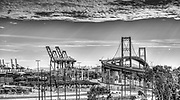 San Pedro CA; Thomas Vincent Bridge; Terminal Island; Gantry Cranes; Shipping Containers; Architectural; Southern California; USA