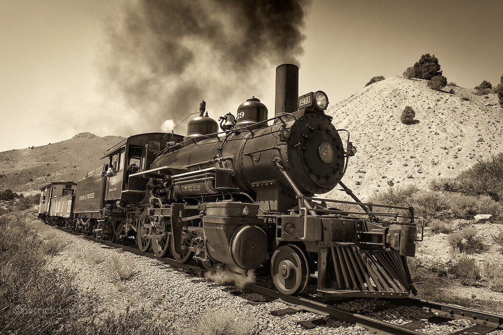 Old No. 29, a Virginia & Truckee Railroad locomotive, chugs its way back to Virginia City, Nevada from Gold Hill. The V&T had 40-some trains coming and going during the height of the Comstock Lode boom in the late 1800s, but now just runs for tourists.