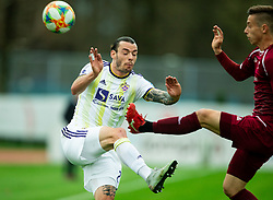 Denis Klinar of Maribor vs Tilen Mlakar of Triglav during Football match between NK Triglav and NK Maribor in 25th Round of Prva liga Telekom Slovenije 2018/19, on April 6, 2019, in Sports centre Kranj, Slovenia. Photo by Vid Ponikvar / Sportida