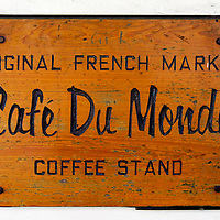 Picture of Cafe Du Monde Sign in New Orleans Louisiana. Established on 1862, Café Du Monde is a French market coffee stand restaurant in the French Quarter of New Orleans and is famous for serving beignets and chicory coffee.