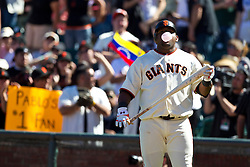 May 30, 2010; San Francisco, CA, USA;  San Francisco Giants third baseman Pablo Sandoval (48) blows a bubble during the ninth inning against the Arizona Diamondbacks at AT&T Park.  San Francisco defeated Arizona 6-5 in 10 innings.