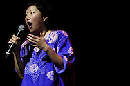 "Comedian Margaret Cho performs her ""State of Emergency"" tour August 28, 2004 at the Apollo Theater in New York City."