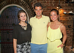 LIVERPOOL, ENGLAND - Thursday, June 18, 2015: Pablo Andujar (ESP) [C] with Elizabeth Enright [L] and Christina Mihaela Carare [R] at Alma De Cuba during a players' dinner on Day 1 of the Liverpool Hope University International Tennis Tournament at Liverpool Cricket Club. (Pic by David Rawcliffe/Propaganda)