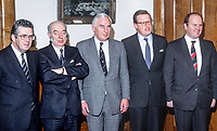 Peter Barry, Minister for Foreign Affairs, Rep of Ireland, left, meets with Tom King, UK Secretary of State for N Ireland, at the first session of the Anglo-Irish Agreement in Stormont Castle, Belfast, on 11th December 1985.  In the photo from left are: Liam Kavnagh, Minister for the Environment, Rep of Ireland, Rhodes Boyson, junior minister, N Ireland Office, Peter Barry, Tom King, Michael Noonan, Minister for Justice, Rep of Ireland. 19851201PB5.<br /> <br /> Copyright Image from Victor Patterson, 54 Dorchester Park, Belfast, UK, BT9 6RJ<br /> <br /> t1: +44 28 9066 1296 (from Rep of Ireland 048 9066 1296)<br /> t2: +44 28 9002 2446 (from Rep of Ireland 048 9002 2446)<br /> m: +44 7802 353836<br /> <br /> victorpattersonbelfast@gmail.com<br /> <br /> www.victorpatterson.com<br /> <br /> Please see my Terms and Conditions of Use at https://www.victorpatterson.com/page2<br /> It is IMPORTANT that you familiarise yourself with them.<br /> <br /> Images used on the Internet incur an additional cost and must be visibly watermarked i.e. © Victor Patterson within the body of the image and copyright metadata must not be deleted. Images used on the Internet have a size restriction of 4kbs and are chargeable at rates available at victorpatterson.com.<br /> <br /> This image is available only for the use of the download recipient i.e. television station, newspaper, magazine, book publisher, etc, and must not be passed on to any third party. It is also downloaded on condition that each and every usage is notified within 7 days to victorpattersonbelfast@gmail.com.<br /> <br /> The right of Victor Patterson (or the named photographer) to be identified as the author is asserted in accordance with The Copyright Designs And Patents Act (1988). All moral rights are asserted.