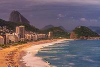 High angle view of Copacabana Beach, Rio de Janeiro, Brazil.
