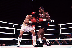 7 Dec 1989:  Sugar Ray Leonard, right, battles Roberto Duran during their bout in Las Vegas, Nevada.  Leonard won the fight with a 12 round decision..Mandatory Credit:  Manny Millan/Icon SMI