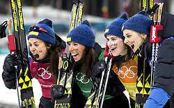 February 17, 2018 - Pyeongchang, South Korea - Sweden's team celebrates their Silver Medal time following action during the Ladies' 4 x 5km Relay at the Alpensia Cross-Country Center during the 2018 Pyeongchang Winter Olympic Games. (Credit Image: © Daniel A. Anderson via ZUMA Wire)