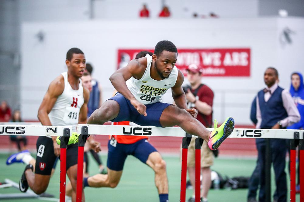 mens 60 meter hurdles prelim 2, Coppin St, Aaron Lewis<br /> Boston University Scarlet and White<br /> Indoor Track & Field, Bruce LeHane