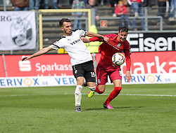 24.04.2016, Hardtwald, Sandhausen, GER, 2. FBL, SV 1916 Sandhausen vs FSV Frankfurt, 31. Runde, im Bild Mario Engels (FSV Frankfurt) im Zweikampf mit Leart Paqarada (SV Sandhausen) // during the 2nd German Bundesliga 31th round match between SV 1916 Sandhausen vs FSV Frankfurt at the Hardtwald in Sandhausen, Germany on 2016/04/24. EXPA Pictures &copy; 2016, PhotoCredit: EXPA/ Eibner-Pressefoto/ Bermel<br /> <br /> *****ATTENTION - OUT of GER*****