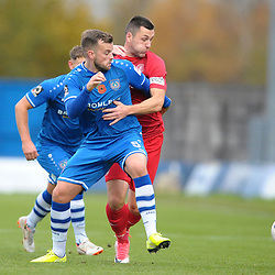 TELFORD COPYRIGHT MIKE SHERIDAN Aaron Williams of Telford battles for the ball with Andrew Halls of Curzon during the Vanarama National League Conference North fixture between Curzon Asthon and AFC Telford United on Saturday, November 9, 2019.<br /> <br /> Picture credit: Mike Sheridan/Ultrapress<br /> <br /> MS201920-028