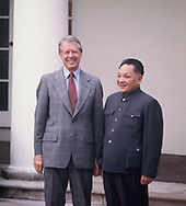 President Jimmy Carter and Deng Xiaoping  pose in the Rose Garden during the visit of Deng Xiaoping to Washington, DC on January 1979<br /> Photo by Dennis Brack