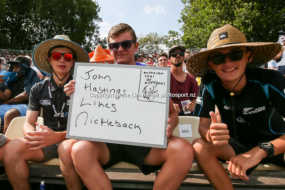 Cricket fans during the 3rd and final match of the New Zealand Black Caps v Australia, Chappell-Hadlee Trophy and ANZ ODI Cricket Series, played at Seddon Park, Hamilton, New Zealand. Monday 8 February 2016. Copyright Photo: Bruce Lim / www.photosport.nz