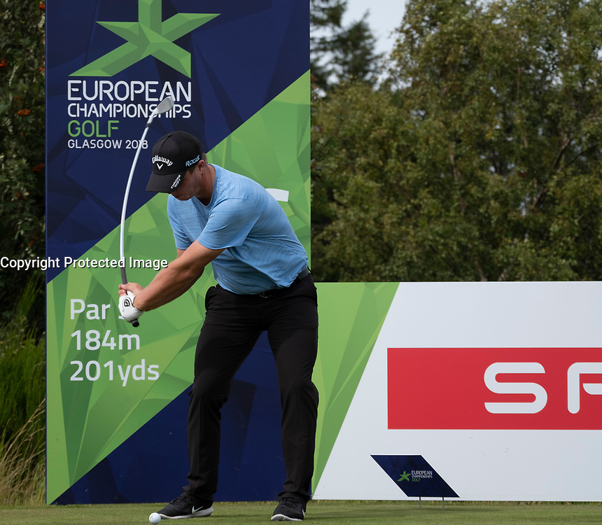 Gleneagles, Scotland, UK; 7 August, 2018.  Practice day at Gleneagles for the European Championships 2018. Pictured; Callum Shinkwin on the tee.