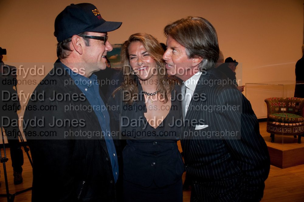 KEVIN SPACEY; TRACEY EMIN; RICHARD CARING, Opening of Love is what you want. Exhibition of work by Tracey Emin. Hayward Gallery. Southbank Centre. London. 16 May 2011. <br /> <br />  , -DO NOT ARCHIVE-© Copyright Photograph by Dafydd Jones. 248 Clapham Rd. London SW9 0PZ. Tel 0207 820 0771. www.dafjones.com.
