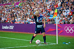 COVENTRY, ENGLAND - Friday, August 3, 2012: Great Britain's's Kim Little prepares to take a corner-kick during the Women's Football Quarter-Final match between Great Britain and Canada, on Day 7 of the London 2012 Olympic Games at the Rioch Arena. Canada won 2-0. (Photo by David Rawcliffe/Propaganda)