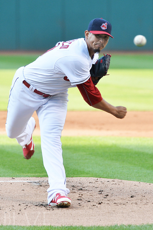 Aug 2, 2016; Cleveland, OH, USA; Cleveland Indians starting pitcher Carlos Carrasco (59) throws a pitch during the first inning against the Minnesota Twins at Progressive Field. Mandatory Credit: Ken Blaze-USA TODAY Sports
