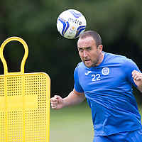 St Johnstone Pre-Season Training...07.07.14<br /> Lee Croft gets in some heading practice<br /> Picture by Graeme Hart.<br /> Copyright Perthshire Picture Agency<br /> Tel: 01738 623350  Mobile: 07990 594431
