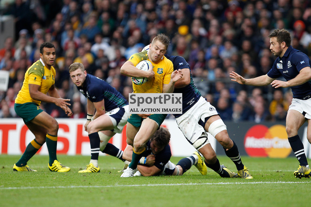 TWICKENHAM, ENGLAND - OCTOBER 18:  Australia's Drew Mitchell in aciton during the 2015 Rugby World Cup quarter final between Scotland and Australia at Twickenham Stadium on October 18, 2015 in London, England. (Credit: SAM TODD | SportPix.org.uk)