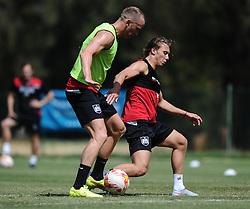 Aaron Wilbraham of Bristol City battles for the ball with Luke Freeman of Bristol City  - Photo mandatory by-line: Joe Meredith/JMP - Mobile: 07966 386802 - 16/07/2015 - SPORT - Football - Albufeira -  - Pre-Season Training