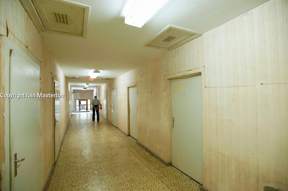 Corridor inside  former East German state secret security police or STASI prison at Hohenschönhausen in Berlin Germany