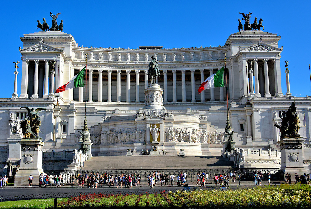 Altare della Patria Frontal View in Rome, Italy <br />
