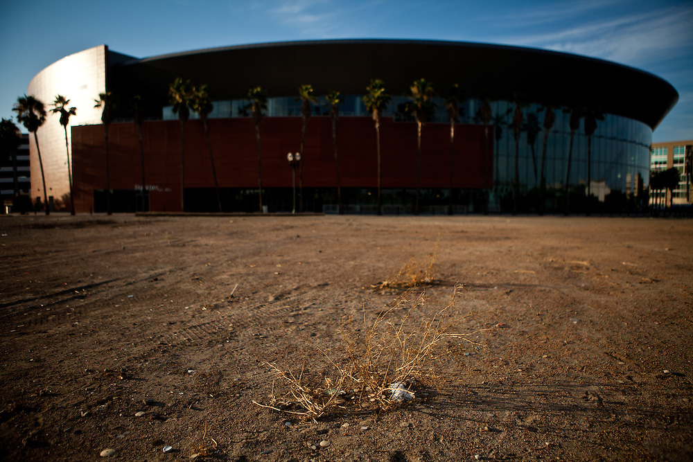 The hockey arena Stockton, Calif. built now sits vacant, July 11, 2012. The bankrupt city has cut back on many services, while residents and private contractors are picking up the slack.