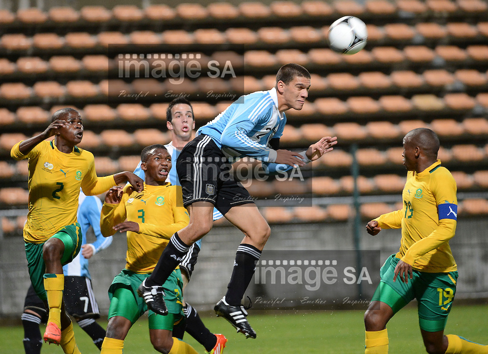 LISANDRO MAGALLAN of Argentina heads the ball during the 8 Nations under 20 Football Challenge soccer match between South Africa and Argentina at Athlone stadium in Cape Town, South Africa..