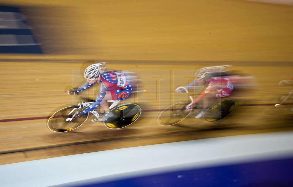 © Licensed to London News Pictures. 19/02/2011.Elizabeth Armitstead (right) of Great Britain competes in the Women's Omnium points Race at the UCI Track Cycling World Cup in Manchester this evening (19/02/2011). Photo credit should read: Reuben Tabner/LNP